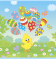 easter chick with colorful balloons vector image vector image