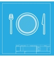 Fork plate and knife White section of icon on vector image vector image