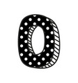 hand drawn number 0 with white polka dots on black vector image vector image