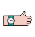 hand with watch fashion time design vector image