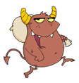 Happy Brown Monster Runs With Bag vector image