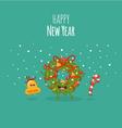 Happy NewYear card Christmas wreath vector image vector image