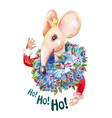 ho ho ho santa mouse creative watercolor character vector image