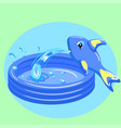 kid portable pool isolated on green background vector image