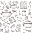kitchen tools seamless pattern sketch cooking vector image vector image