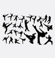 martial art male and female silhouettes vector image