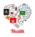Medical symbols poster in heart shape vector image