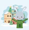 merry christmas celebration cute rabbit with ugly vector image vector image