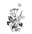 monochrome composition with butterflies vector image vector image