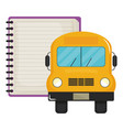 notebook school supply with bus vector image vector image