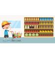 of kid grocery vector image