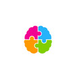 puzzle brain logo icon design vector image