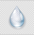 realistic water drop on transperent background vector image vector image