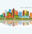 salt lake city utah skyline with color buildings vector image vector image