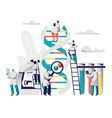 scientist group explore genome pair in dna cell vector image vector image