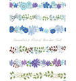 seamless watercolor floral border set vector image vector image