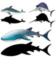 set fish characters and its silhouette on vector image