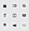set of 9 editable filming icons includes symbols vector image