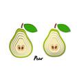 set paper cut green pears cut shapes 3d vector image