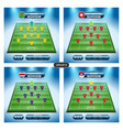 soccer team player plan group e with flags vector image vector image