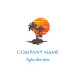 sunset sunrise palm coconut beach logo design vector image