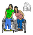 two disable women sitting on wheelchair vector image vector image
