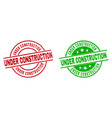 under construction round stamps with rubber vector image vector image