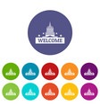 welcome to usa icons set color vector image vector image