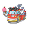 with ice cream fire truck character cartoon vector image