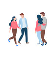 young man and woman front and back view vector image vector image
