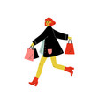 young woman dressed in trendy clothes running with vector image vector image