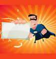 comic super hero holding sign vector image