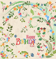Cute invitation card with birds on floral branch vector image