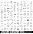 100 water recreation icons set outline style vector image