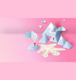 3d paper art and craft design of mountain view vector image vector image
