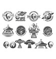 badges set with ufo and aliens design vector image vector image