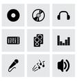 black dj icon set vector image vector image