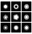 black sun icon set vector image vector image