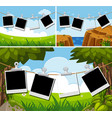 blank photo frames on three different backgrounds vector image