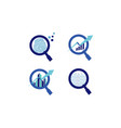 blue magnifying logo symbol icon technology vector image