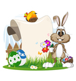 Bunny with flowers and Easter eggs vector image vector image