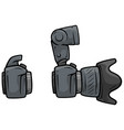 cartoon digital camera with big lens set vector image