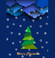 christmas card with paper clouds paper white vector image vector image