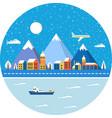 christmas winter landscape vector image vector image