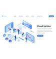 cloud service app website isometric template vector image vector image