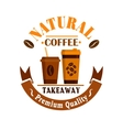 Coffee cups poster Takeaway label icon vector image vector image