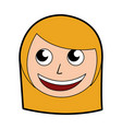 cute blond women face cartoon vector image