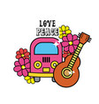cute hippie minibus with flowers and guitar vector image
