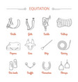 equitation equestrian sport equipment icons vector image