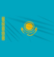 flag kazakhstan swaying in the wind realistic vector image